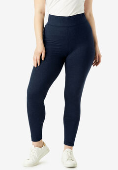 Performance Legging with Wide Waistband, NAVY SPACE DYE