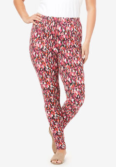 Essential Stretch Legging, PINK BRUSHSTROKE PRINT
