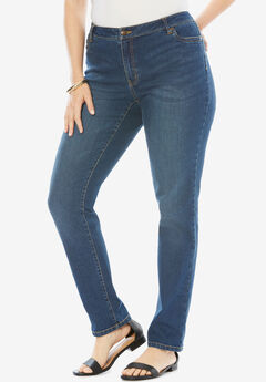 Straight Leg Jean with Invisible Stretch® by Denim 24/7®, STONEWASH SANDED, hi-res