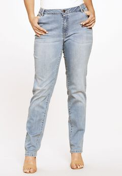 Straight Leg Jean with Invisible Stretch® by Denim 24/7®, LIGHT STONEWASH SANDED, hi-res