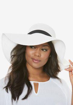 Wide Brim Straw Hat, WHITE, hi-res