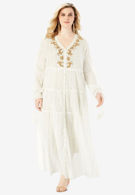 Tiered Metallic Crinkle Maxi Dress with Embellished Neckline