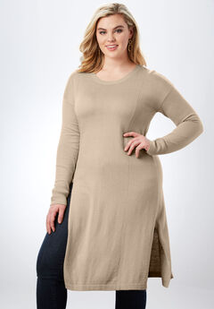Ultra Tunic Sweater with High Side Slits,