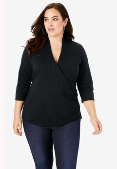 Faux-Wrap Runway Tee, BLACK