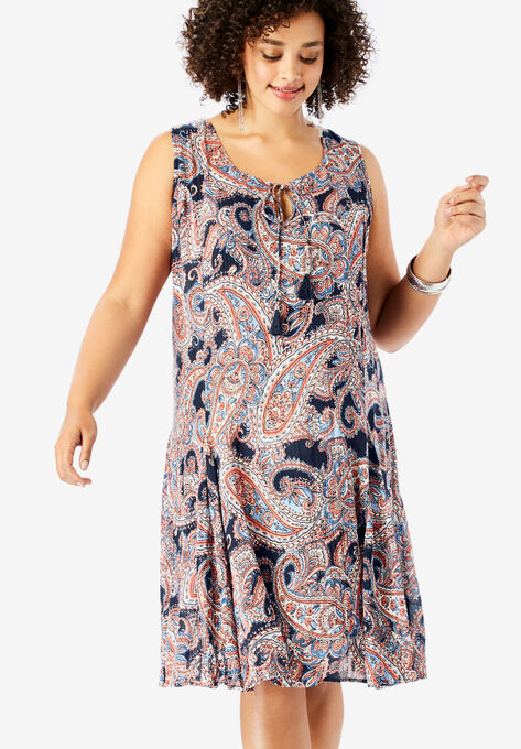 A-Line Crinkle Dress with Tassel Ties