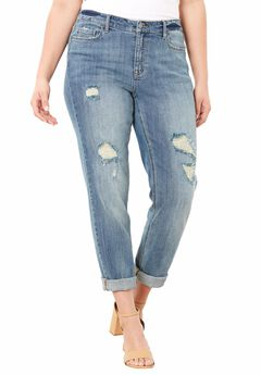 Boyfriend Jeans by Denim 24/7, LIGHT STONEWASH DISTRESSED, hi-res