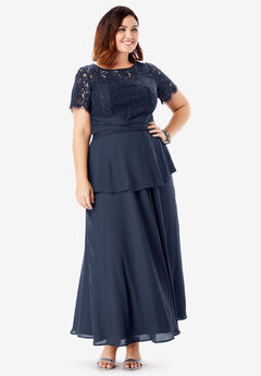 Lace Peplum Top, NAVY