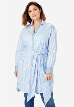 Tie-Front Ultra Tunic with High-Low Hem, BLUE STRIPE