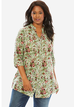 English Floral Tunic with Pintucks, SAGE PRINT, hi-res