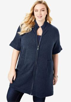Soft Luxe Zip-Front Cardigan, NAVY