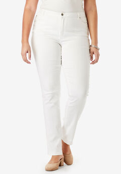 Straight-Leg Jean with Invisible Stretch® by Denim 24/7®, WHITE DENIM