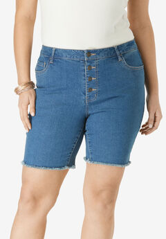 Boyfriend Jean Short with Button Fly by Denim 24/7®, MEDIUM WASH