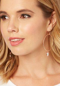Drop Hoop Earrings, ROSE GOLD, hi-res