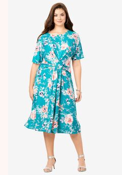Twist Front Dress, GEMSTONE WATERCOLOR FLORAL