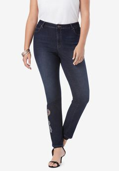 Embellished Straight-Leg Jean with Invisible Stretch® by Denim 24/7®,