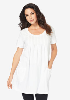 Two-Pocket Soft Knit Tunic, WHITE