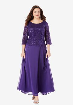 Lace Popover Dress, MIDNIGHT VIOLET