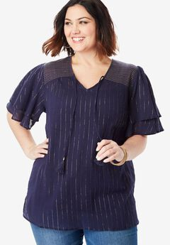 Flutter-Sleeve Crinkle Top with Tassels,