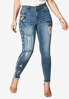 Embroidered Skinny Jeans by Denim 24/7®, MEDIUM WASH, hi-res