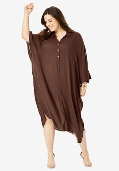 Pullover Crinkle Shirtdress with Dolman Sleeves, RICH BROWN