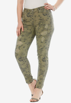 Distressed Twill Jeans by Denim 24/7, FLORAL CAMO