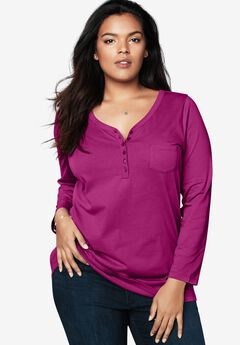 Long-Sleeve Henley Ultimate Tee with Sweetheart Neck,
