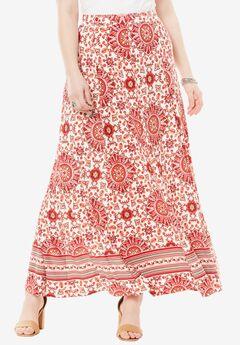 Print Maxi Skirt, BORDER PRINT, hi-res