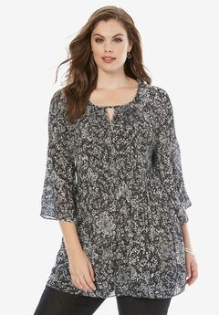 Pleated Keyhole Tunic, BLACK WHITE PRINT, hi-res