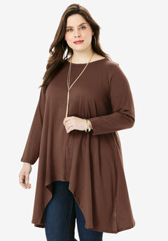 Handkerchief Hem Ultimate Tunic, RICH BROWN