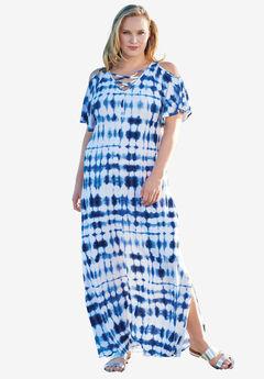 A-Line Cold Shoulder Dress, BLUE TIE DYE, hi-res