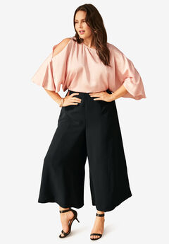 Wide-Leg Culotte Pant with High Side Slits, BLACK