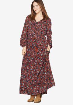 Print Maxi Dress By Castaluna, RED OCHRE FLORAL, hi-res