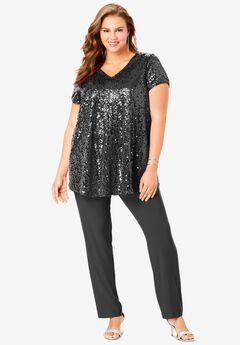 Sequin Tunic & Pant Set, DARK CHARCOAL