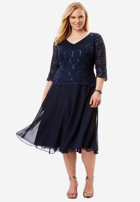 065ac8d32d93b Lace V-Neck Dress by Alex Evenings| Plus Size Formal & Special ...