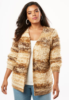 Loop-Fringe Cardigan with Long Sleeves,