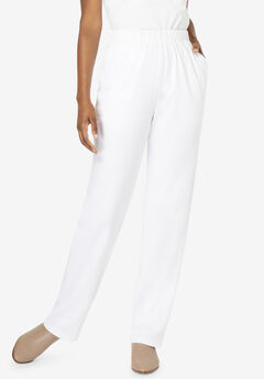 Straight-Leg Soft Knit Pant, WHITE