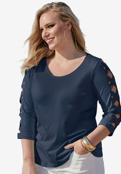 Lattice Three-Quarter Sleeve Tee, NAVY, hi-res
