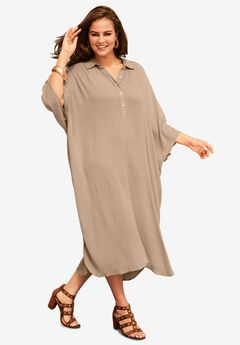 Pullover Crinkle Shirtdress with Dolman Sleeves, SAND DUNE