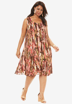 Short Crinkle Dress, SUNSET CORAL PRINT, hi-res