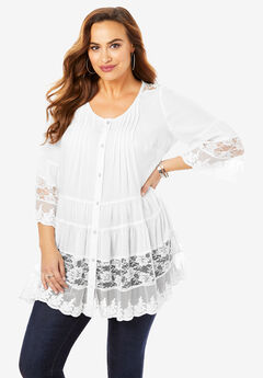 Illusion Lace Tunic, WHITE, hi-res