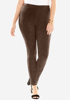 Faux Suede Leggings, CHOCOLATE, hi-res