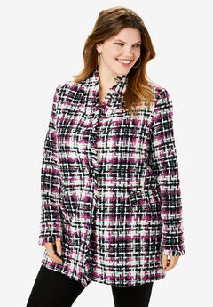 Textured Plaid Coat,