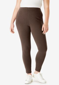 Ankle-Length Stretch Legging, CHOCOLATE