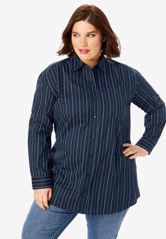 Button-Front Boyfriend Shirt, NAVY STRIPE