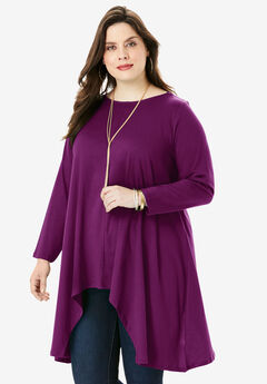 Handkerchief Hem Ultimate Tunic, DARK BERRY
