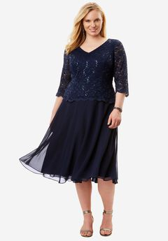 Lace V-Neck Dress by Alex Evenings, NAVY, hi-res