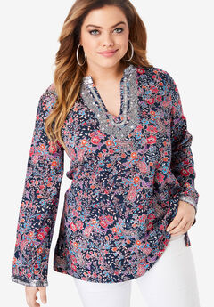 Flared-Sleeve Tunic with Embellishments,