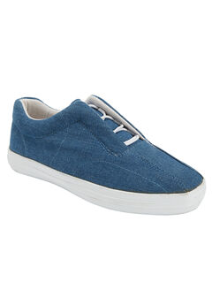 Bungee Lace Canvas Slip-on by Comfortview, DENIM, hi-res