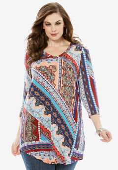 V-Neck Drape Tunic, MULTI TILE PRINT, hi-res