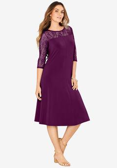 Ultrasmooth® Illusion Lace Swing Dress, DARK BERRY